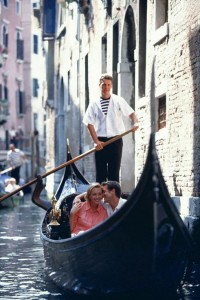 A Couple relaxing in a Gondola