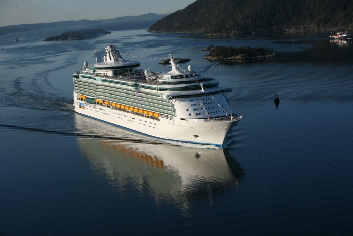 Independence of the Seas from Royal Caribbean underway on a cruise