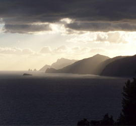 Sunset on the Amalfi coast compliments of Edward Brims
