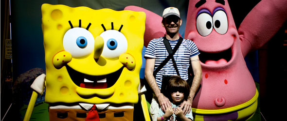 Adam Coulter onboard the Norwegian Epic with Spongebob