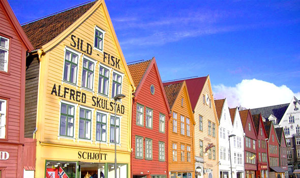 Picture-postcard town of Bergen, Norway