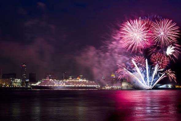 QV and fireworks - Pier Head, Liverpool - must credit Chris FearnehoughIMG_8314 1mb res