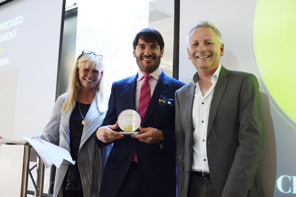 Celebrity chef Eric Lanlard with Cruise Awards presenters Julie Peasgood and Andy Harmer, Director of CLIA