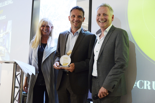 Executive MD of MSC Cruises Giles Hawke with Cruise Awards presenters Julie Peasgood and Andy Harmer
