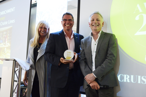 Nathan Philpot, Sales and Marketing Director, Fred. Olsen Cruise Line with Cruise Awards presenters Julie Peasgood and Andy Harmer