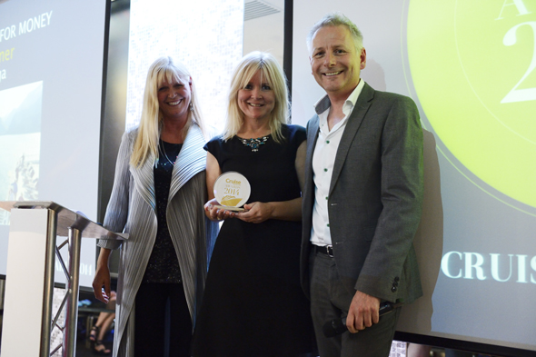 Michelle Paul from Saga Cruises with Cruise Awards presenters Julie Peasgood and Andy Harmer