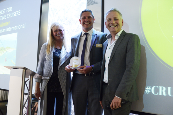 Ben Bouldin, Director of Sales for UK & Ireland at Royal Caribbean International with Cruise Awards presenters Julie Peasgood and Andy Harmer