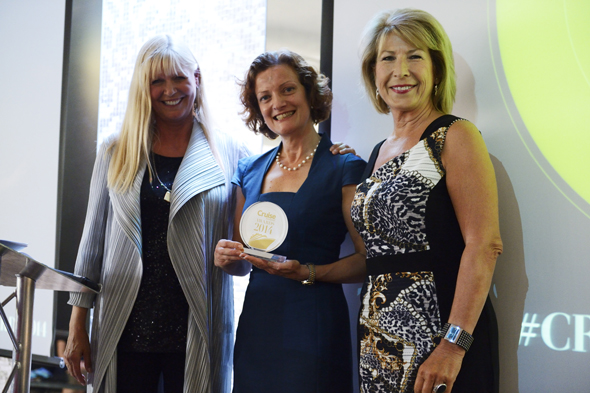 Gill Haynes, Head of PR for Cunard with Cruise Awards presenter Julie Peasgood and Jennie Bond