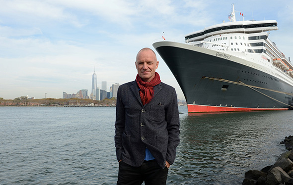 Sting in front of Cunard's Queen Mary 2, NYC. Photo credit James Morgan_DSC_7179