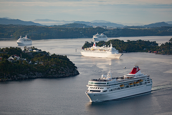 Fred. Olsen Cruise Line ships Balmoral, Braemar, Boudicca and Black Watch meet for the first time at Bergen, Norway