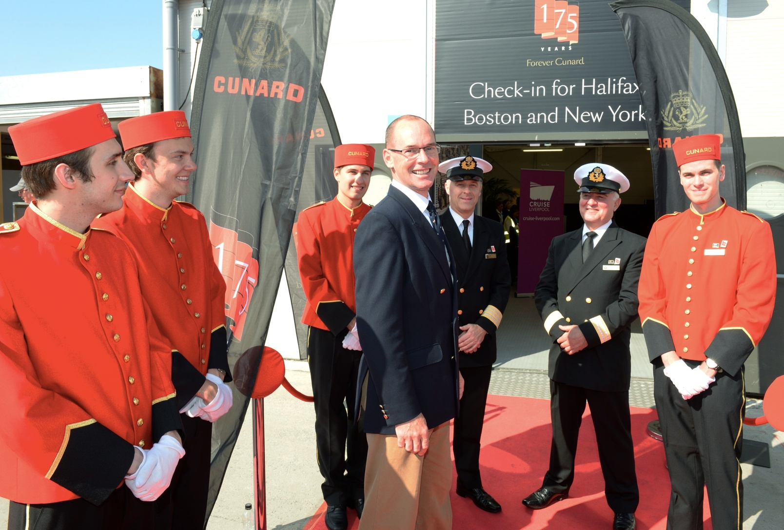 Hugh Paton of Canada, descendant of Sir Samuel Cunard, was welcomed by Cunard's officers and bell boys