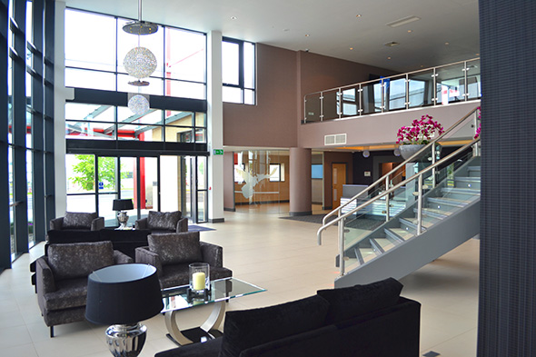 The entrance foyer of Stansted's private jet terminal
