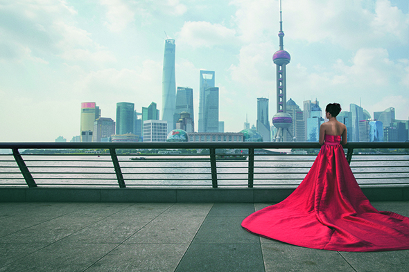 A Shanghai bride looks out towards Pudong