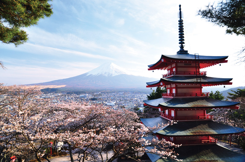 Red pagoda with Mount Fuji in the background, Japan