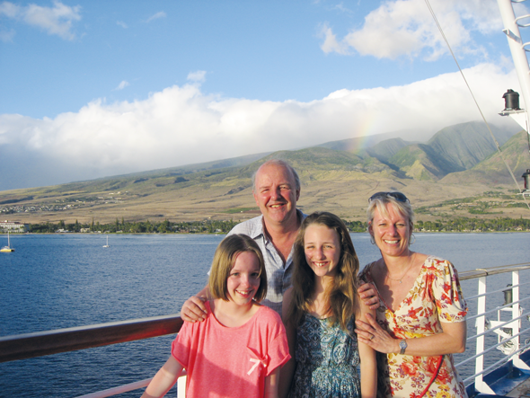 Sara Macefield with her family on board Grand Princess