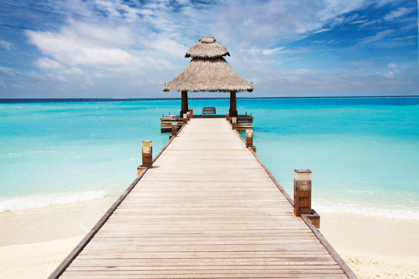 A beach jetty in the Caribbean