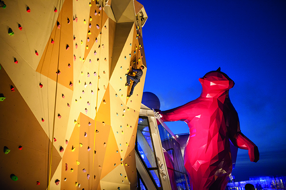 climbing wall on cruise ship