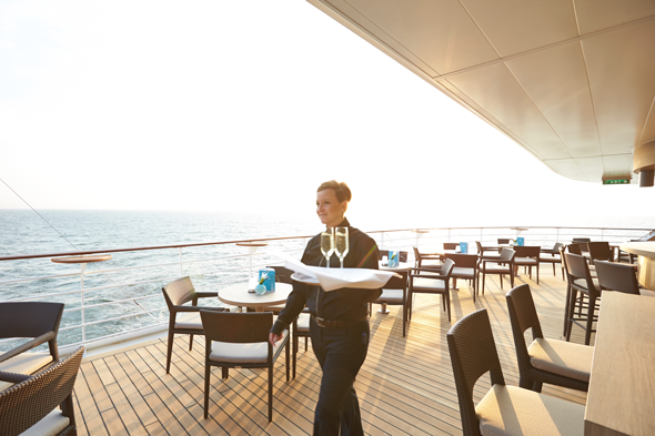 Champagne on Europa 2's deck