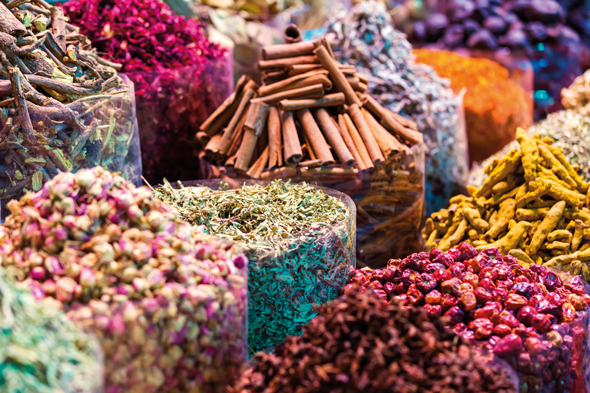 Spices at the souk. Credit AWL Images