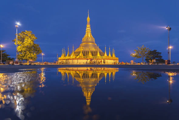 The glittering Shwedagon Pagoda at dusk. Credit Getty Images. Credit Getty Images