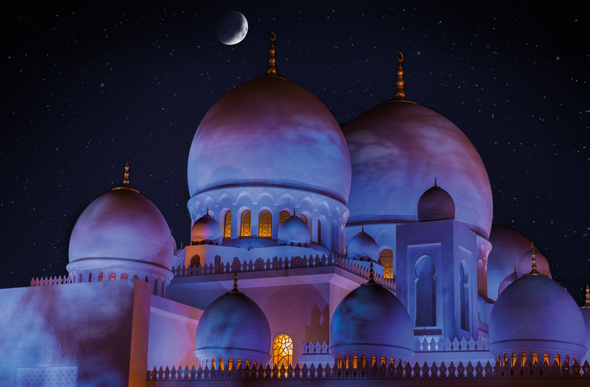 Mosque domes at night
