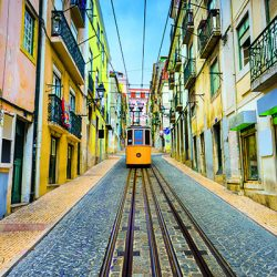 A tram on the cobbled streets of Lisbon