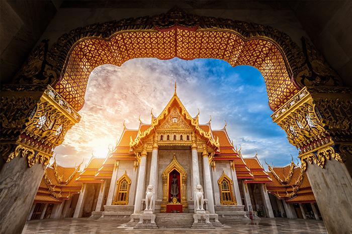 Landmark of Marble Temple of Bangkok during sunrise in the morning, Thailand