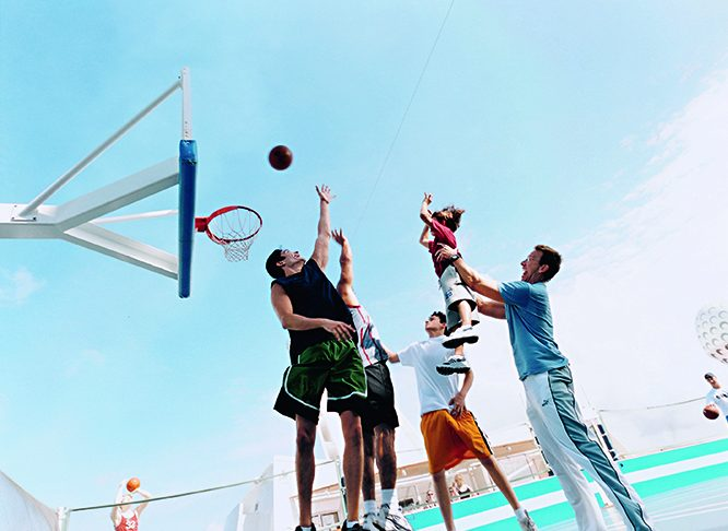 Playing basketball on Royal Caribbean International's Navigator of the Seas