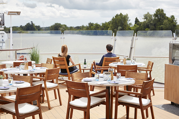 Enjoy river views from the Aquavit Terrace