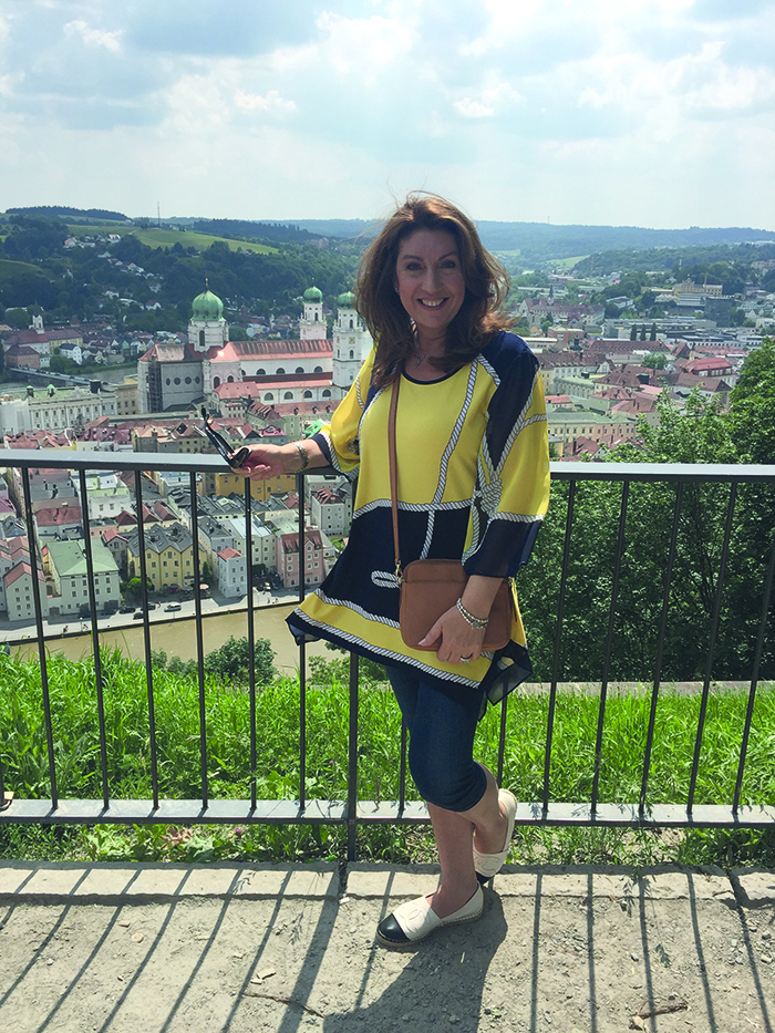 Jane during her Danube river cruise fior Cruising with Jane McDonald