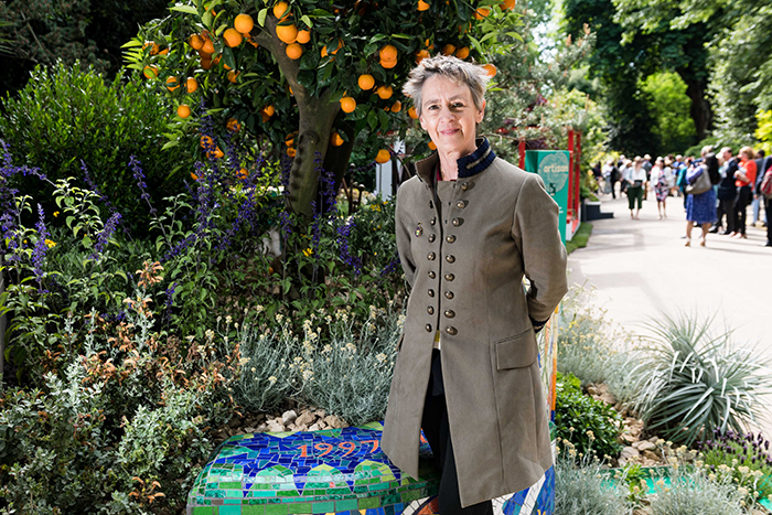 Sarah Eberle with her Viking Cruises Garden of Inspiration at the RHS Chelsea Flower Show
