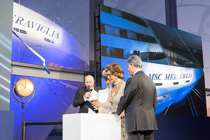 Godmother Sophia Loren cuts the ribbon in MSC Meraviglia's naming ceremony