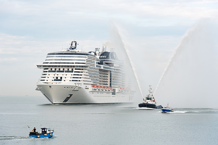 MSC Meraviglia arriving at Le Havre port to be christened