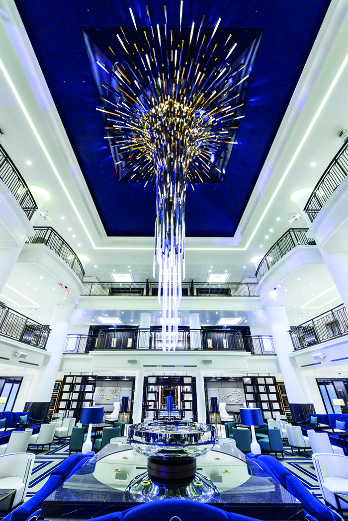The Starburst chandelier in the Atrium on board