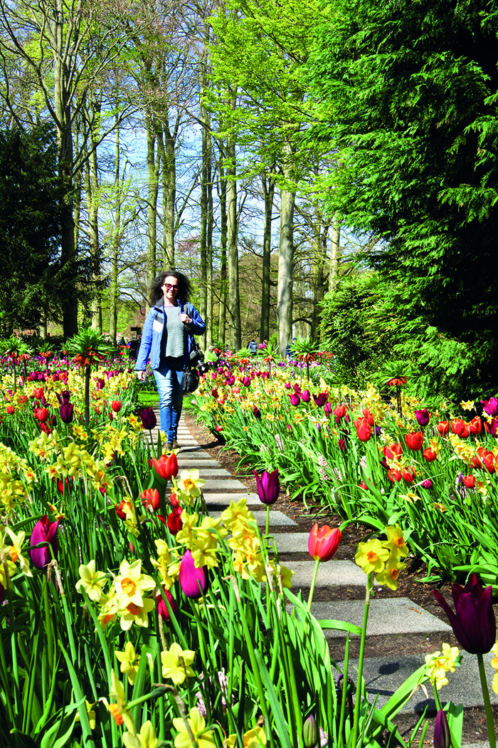 Our writer Chris in the tulips at the Keukenhof Gardens