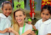 Victoria's Secret model, television host and humanitarian Petra and Alangalang students
