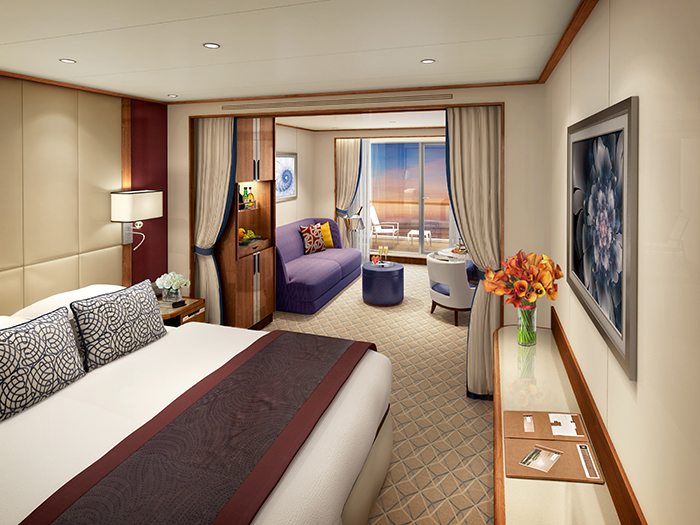 A stateroom on board Seabourn Encore