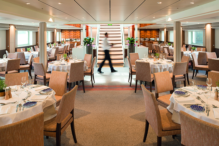 The elegant restaurant on board Viking Beyla