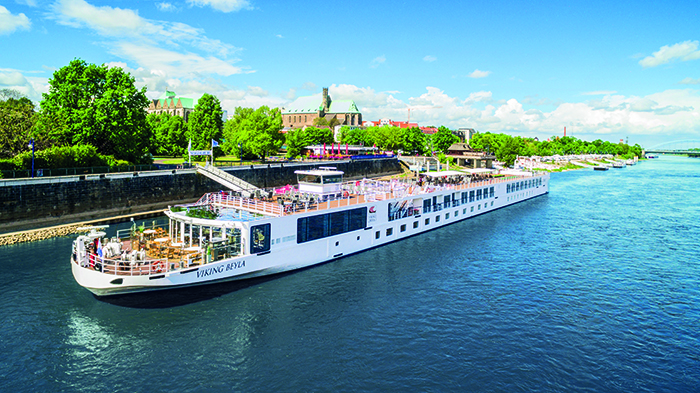 Viking Beyla docked in the town of Magdeburg, Germany along the Elbe