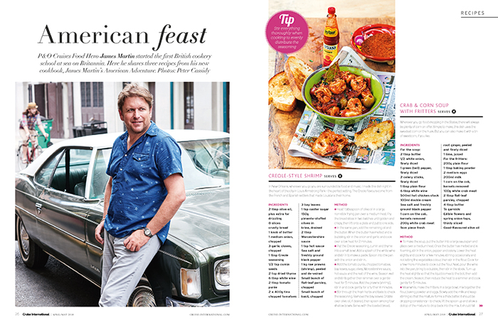 James Martin's American feast - Cruise International April/May 2018