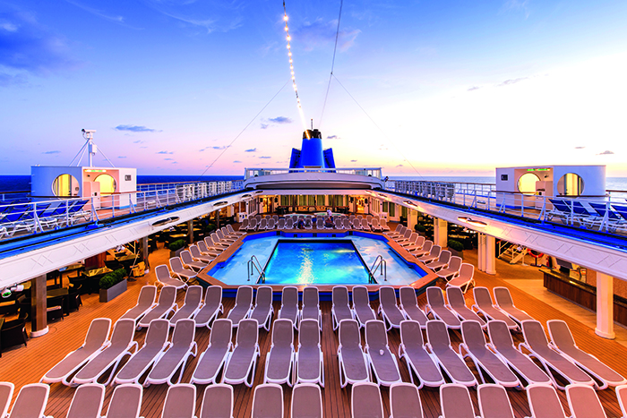 The main pool on the sun deck on board Marella Cruises' Marella Dream