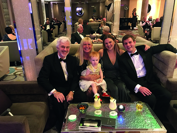 All five of us glammed up for formal night on board P&O Cruises' Azura