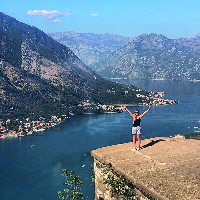 Rhian in Kotor, Montenegro, with Marella Dream in the backdrop