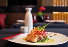 Barbecue Baby Back Rib Salad, served at the Red Ginger restaurant on board Riviera