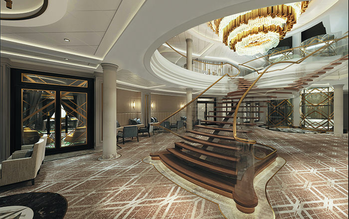 The stairs in the Atrium on board Seven Seas Splendor © Regent Seven Seas Cruises