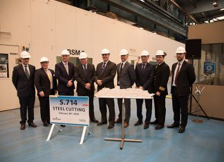 Saga management and new-build team at the steel cutting of Spirit of Discovery