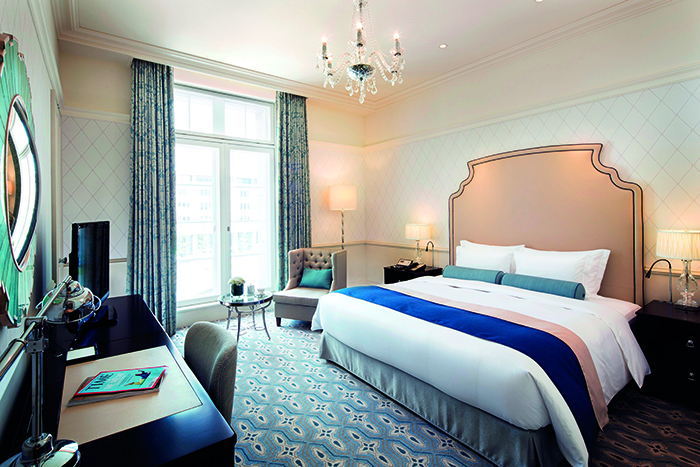 The rooms at The Tokyo Station Hotel feature vaulted ceilings and big windows