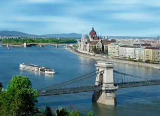 Viking Longship Odin on the Danube River in Budapest, Hungary