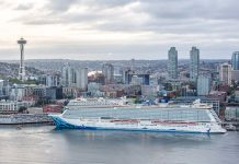 The Norwegian Bliss arrives at Bell Street Pier Cruise Terminal on its maiden voyage to Seattle