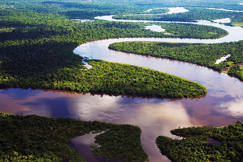 Peru, Amazon, Amazon River. Bends in the Nanay River, a Tributary of the Amazon River.